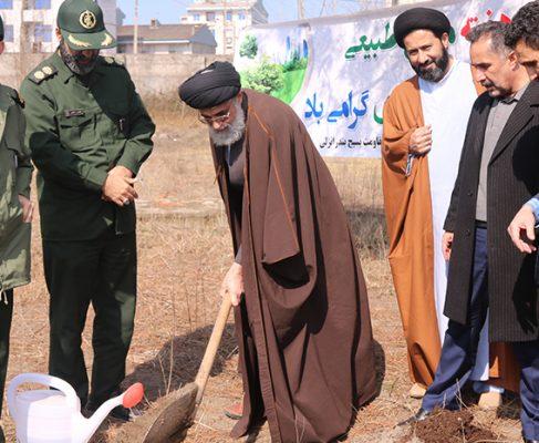 کاشت نهال توسط امام جمعه انزلی در ایام هفته منابع طبیعی+ تصاویر//