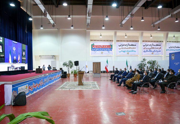 حضور امام جمعه بندرانزلی در آئین افتتاح ۱۸ طرح توسعهای منطقه آزاد انزلی توسط رئیس جمهور